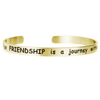 Qina C. 'True Friendship Is a Journey Without End' Adjustable Cuff Bracelet Wristband Bangle (3 options available)