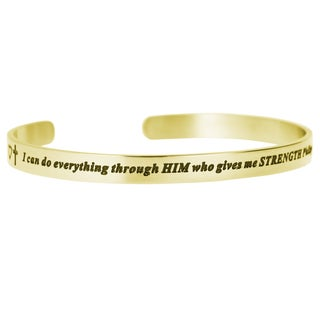 Qina C. 'I Can Do Everything Through Him Who Gives Me Strength' Adjustable Cuff Bracelet Wristband B