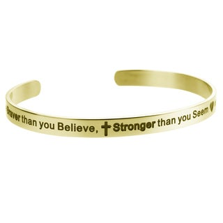 Qina C 'You are braver than you believe, stronger than you seem and smarter than you think' Adjustable Bracelet Wristband Bangle
