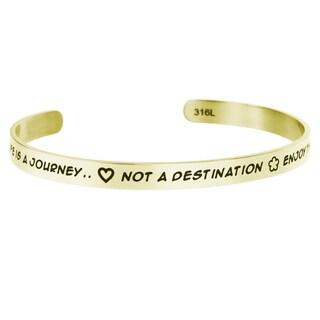 Qina C. 'Life Is a Journey' Adjustable Cuff Bracelet Wristband Bangle