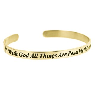 Qina C. Christian Bible 'With God All Things Are Possible' Adjustable Cuff Bracelet
