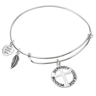 Qina C. Sterling Silver Round Christ Cross Serenity Courage Wisdom Heart Feather Dangle Charm Adjustable Wire Bangle Bracelet