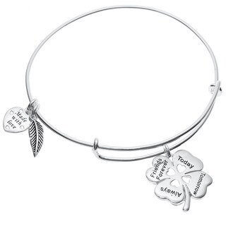 Qina C. Sterling Silver 4 Leaf Clover Heart Friends Forever Dangle Charm Adjustable Wire Bangle Brac