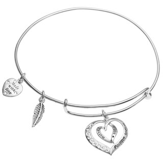 Qina C. Sterling Silver Mother Son Forever Dangle Charm Adjustable Wire Bangle Bracelet