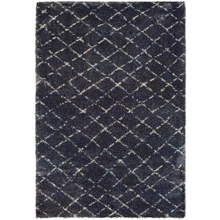 Couristan Bromley Gio/Navy/Grey Power-loomed Wool/Courtron Polypropylene/Polyester Blend Rug (2' x 3'11)