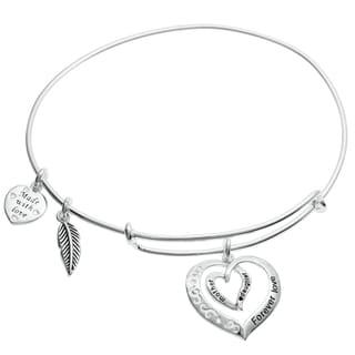 Qina C. Sterling Silver Mother Daughter Forever Dangle Charm Adjustable Wire Bangle Bracelet