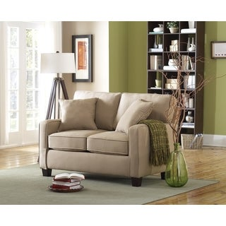 Coco II Beige Twill Love Seat With Two Toss Pillows