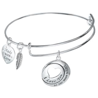 Qina C. Sterling Silver 'To the Moon and Back' Heart Leaf Dangle Charm Adjustable Wire Bangle Bracelet