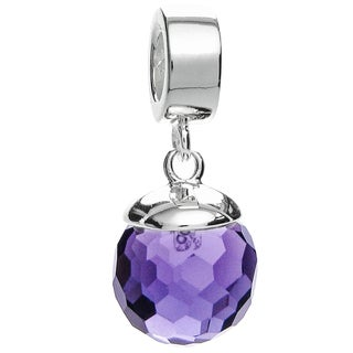 Queenberry Sterling Silver Purple CZ Crystal Dangle Pendant February Birthstone Pendant European Bea
