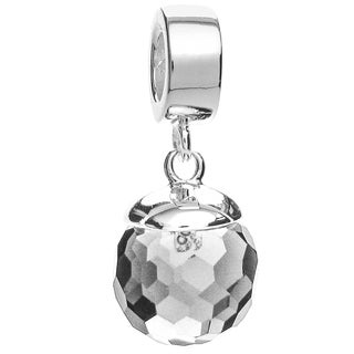 Queenberry Sterling Silver Clear Crystal Disco Ball Pendant European Bead Charm