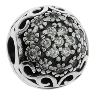 Queenberry Sterling Silver Round Daisy Flowers Clear CZ Crystals Stopper Clip Lock European Bead Charm