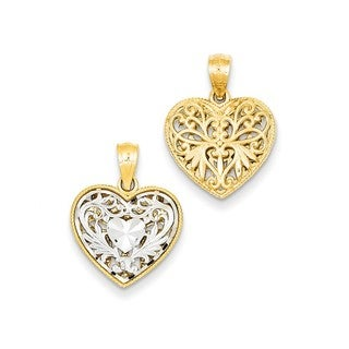 14k Two-tone Gold Reversible Filigree Heart Pendant