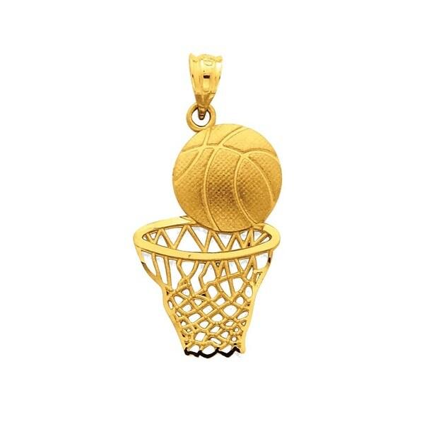 Shop 14k Yellow Gold Satin Diamond-cut Basketball and Net Pendant ... e78f82b7f626