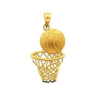 14k Yellow Gold Satin Diamond-cut Basketball and Net Pendant