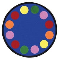"Joy Carpets Kid Essentials Multicolored 'Lots of Dots' Rug - Primary - 7'7"" Round"