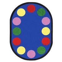 "Joy Carpets Kid Essentials Multicolored Oval 'Lots of Dots' Rug - Primary - 7'8"" x 10'9"" Oval"