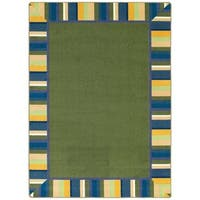 "Joy Carpets Kid Essentials Green Area Rug w/ Multicolored Border - 10'9"" x 13'2"""