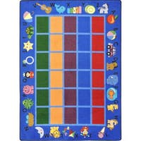 "Joy Carpets Kid Essentials Early Childhood Alphabet Phonics Blue Nylon Rectangular Rug - 10'9"" x 13'2"""