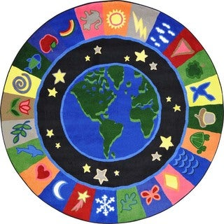 Joy Carpets Kid Essentials Multicolored 'EarthWorks' Round Rug