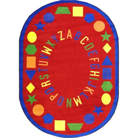 Joy Carpets Kid Essentials Red Oval 'First Lessons' Area Rug