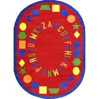 "Joy Carpets Kid Essentials Red Oval 'First Lessons' Area Rug - 10'9"" x 13'2"" Oval"