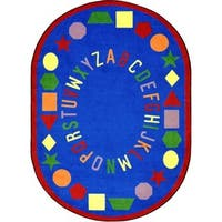 "Joy Carpets Kid Essentials Blue Oval 'First Lessons' Rug - 10'9"" x 13'2"" Oval"