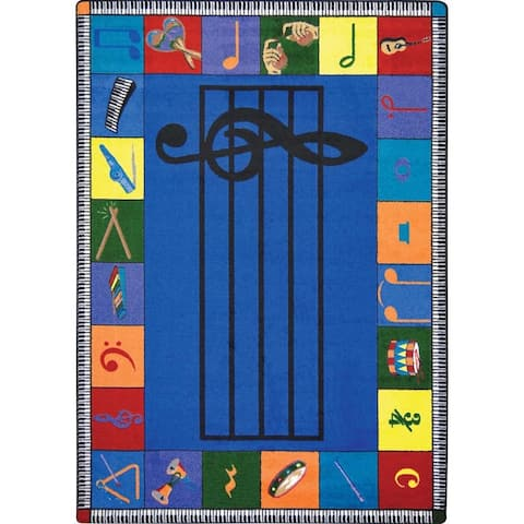 "Joy Carpets Kid Essentials 'Note Worthy' Multicolored Rectangular Rug - Multi - 7'8"" x 10'9"""