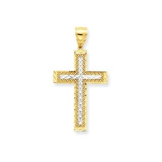10K Yellow Gold and Rhodium Diamond-Cut Cross Pendant