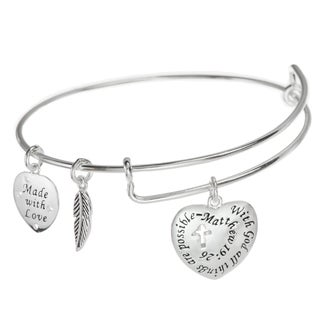 Qina C. Sterling Silver Christian Cross and Quote Leaf Dangle Charm Adjustable Wire Bangle Bracelet