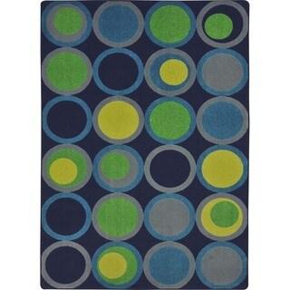 Joy Carpets Kid Essentials Circle Back Navy Rectangular Teen Area Rug (7'8 x 10'9)