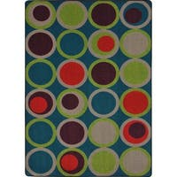 "Joy Carpets Kid Essentials Circle Back Tropics Multicolor Nylon Area Rug - 7'8"" x 10'9"""