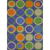 Joy Carpets Kid Essentials Circle Back Violet Nylon Rug - 5'4 x 7'8