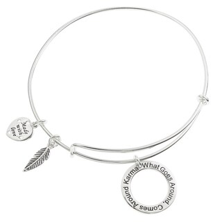 Qina C. Sterling Silver Karma What Goes Around Comes Around Feather Dangle Charm Heart Adjustable Wire Bangle Bracelet
