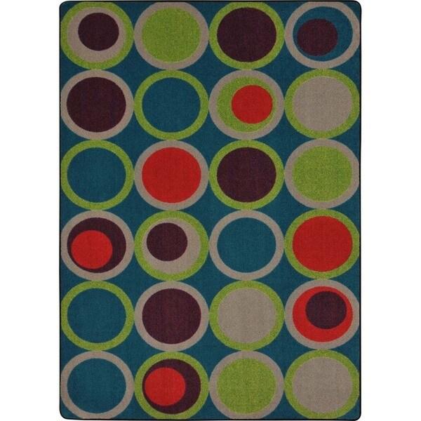 Joy Carpets Kid Essentials Tropics Rectangle Circle Back Area Rug 10 X27