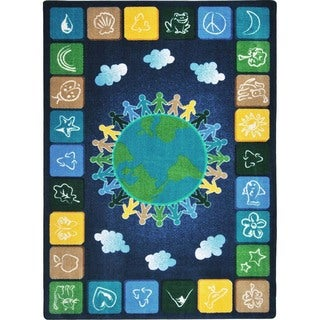 Joy Carpets Kid Essentials Primary Geography and Environment One World Multicolored Nylon Rectangular Rug (5'4 x 7'8)