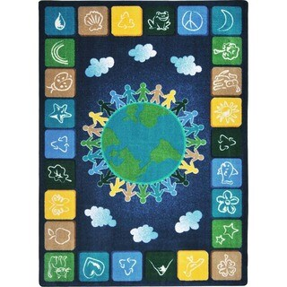 Joy Carpets Kid Essentials Primary Geography and Environment One World Multicolored Nylon Rectangular Rug - 5'4 x 7'8