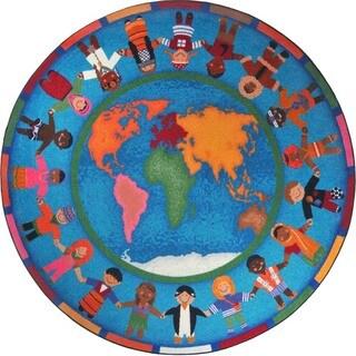 Joy Carpets Kid Essentials Early Childhood Hands Around the World Nylon Rug (13'2 Round)