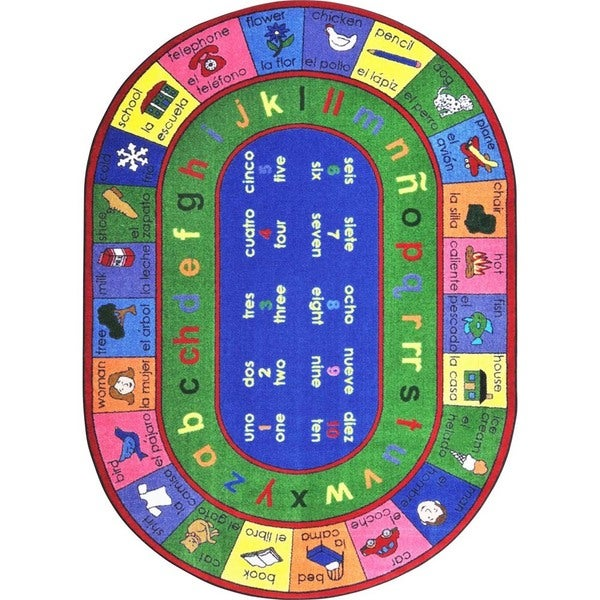 "Joy Carpets Kid Essentials Multicolor Oval Language and Literacy LenguaLink Engligh and Spanish Rug - Multi - 7'8"" x 10'9"" Oval"