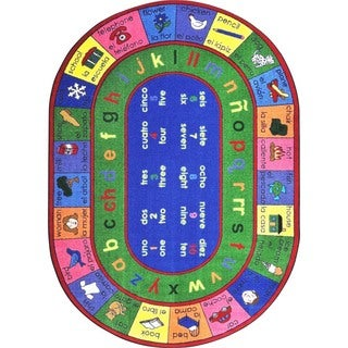 Joy Carpets Kid Essentials Multicolor Oval Language and Literacy LenguaLink Engligh and Spanish Rug (7'8 x 10'9)
