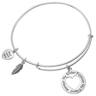 Qina C. Sterling Silver Always My Sister Forever My Friend Dangle Charm Heart Adjustable Wire Bangle Bracelet