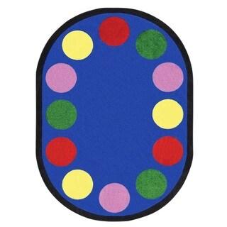 Joy Carpets Kid Essentials Lots of Dots Multicolor Nylon Oval Rug (5'4 x 7'8)