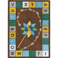"Joy Carpets Kid Essentials Early Childhood Earthtone Nylon Alphabet Pinwheel Area Rug - 5'4"" x 7'8"""
