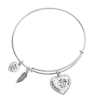 Qina C. Sterling Silver Rose Husband and Wife Heart Feather Dangle Charm Heart Adjustable Wire Bangle Bracelet