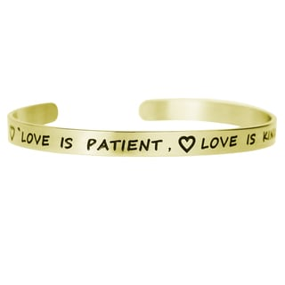 Qina C. 'Love Is Patient' Adjustable Cuff Bracelet Wristband Bangle