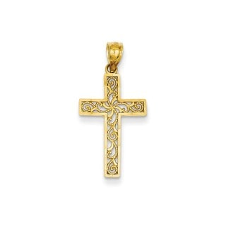 14k White or Yellow Gold Cross Charm