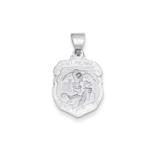 14k White Gold Polished and Satin St. Michael Medal Pendant