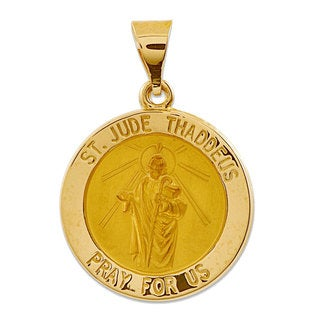 14k Yellow or White Gold Polished and Satin St. Jude Thaddeus Medal Pendant
