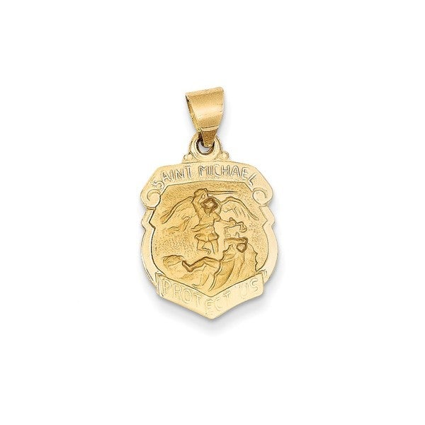 Shop 14k yellow or white gold polished and satin st michael medal 14k yellow or white gold polished and satin st michael medal pendant aloadofball Choice Image