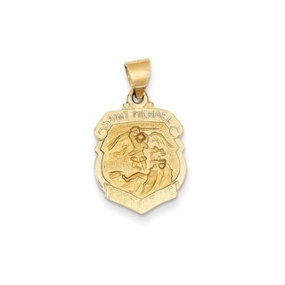 14k Yellow or White Gold Polished and Satin St. Michael Medal Pendant