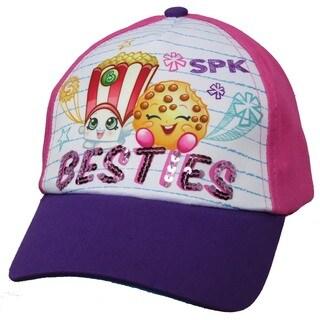 Shopkins Poppy Corn and Kooky Cookie Girls Pink and Purple Cotton Baseball Cap